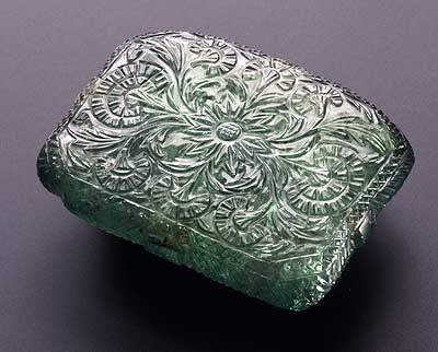 Carved Emerald Plaque